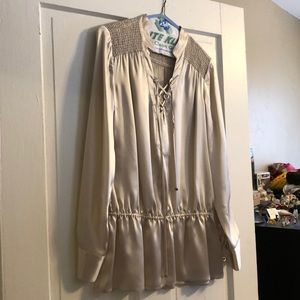 Silk champagne colored lace up shirt